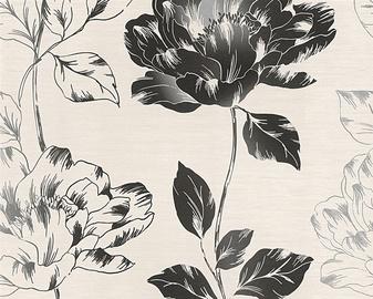 Flizelīna tapetes 95881-1, ar melnām puķēm(12)