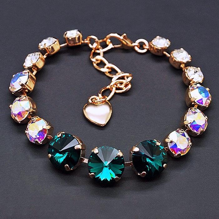 Diamond Sky Bracelet Vortex II Emerald Aurore Boreale With Swarovski Crystals