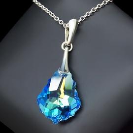 Diamond Sky Pendant Baroque IV Aquamarine Blue AB With Crystals From Swarovski