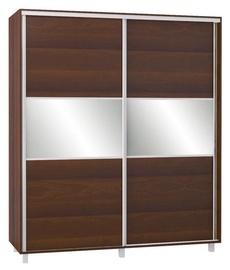 Bodzio SZP180 Sliding Wardrobe w/ Mirror 180x210cm Walnut
