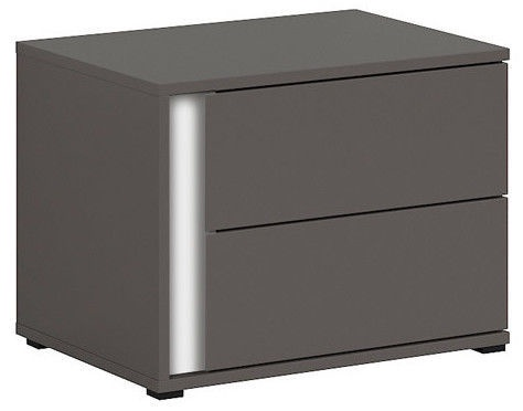 Black Red White Graphic Night Stand Left Wolfram Grey