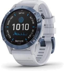 Išmanusis laikrodis Garmin Fenix 6 Pro Solar Mineral Blue Titanium / Whitestone Band