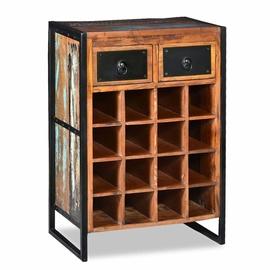 Pudeliriiul VLX Solid Reclaimed Wood Wine Rack 244831, pruun, 350 mm x 540 mm x 800 mm