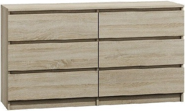 Top E Shop Malwa M6 Chest of 6 Drawers 140cm Sonoma