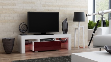 TV staliukas Pro Meble Milano 130 With Light White/Red, 1300x350x450 mm
