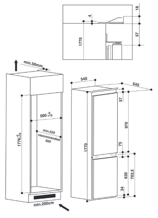 Iebūvējams ledusskapis Whirlpool ART 6510/A+ SF