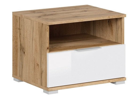 Black Red White Zele Night Stand Wotan Oak/White