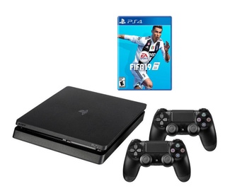 Sony Playstation 4 (PS4) Slim 500GB Black + Dualshock Controller + Fifa 19
