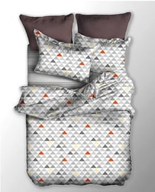 Gultas veļas komplekts DecoKing Basic, balta/oranža/pelēka, 135x200/80x80 cm