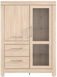 Black Red White Gent Glass Door Cabinet 115x158x42cm Oak