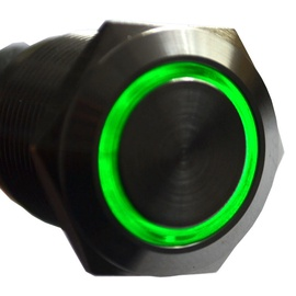 Impactics Push Button 19mm IP65 LED Green