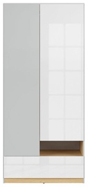 Black Red White Nandu Wardrobe 90x200.5x55cm Gray/Oak/White