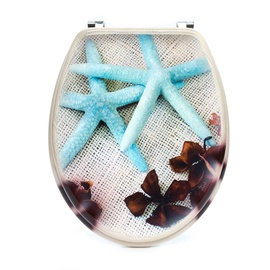 Tualetes poda vāks Domoletti, ar jūras zvaigznēm