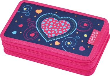 Herlitz Double Pencil Case 23Pcs Blue Hearts