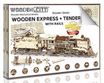 Wooden City Express And Tender With Rails WR323 580pcs