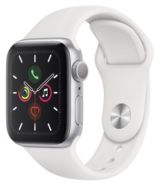 Apple Watch Series 5 GPS 40mm Silver Aluminum Case with White Sport Band LT