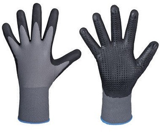 DD Nylon-Polyester Gloves With Dotted Nitrile Palm 10