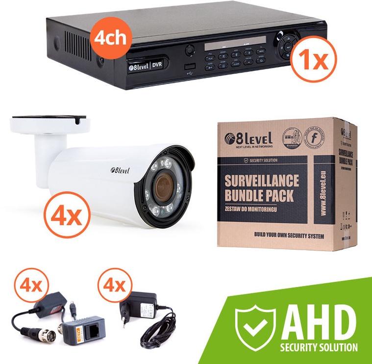 8level AHD Camera And Recorder Kit KIT-DVR4-4E1080-VF42