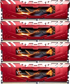 G.SKILL RipJaws 4 Red 32GB 2666MHz CL15 DDR4 KIT OF 4 F4-2666C15Q-32GRR