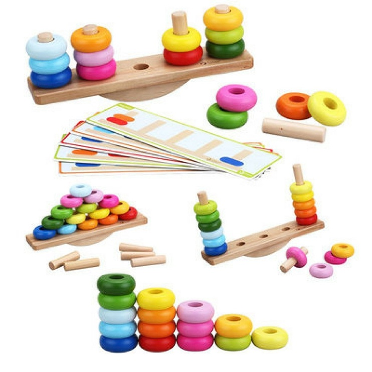 Lavinamasis žaislas, Statyk ir supk, medinis