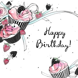 Clear Creations Cupcakes Birthday Card CL2504