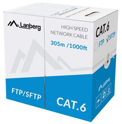 Lanberg Network Cable CAT 6 CU S/FTP Grey 305m