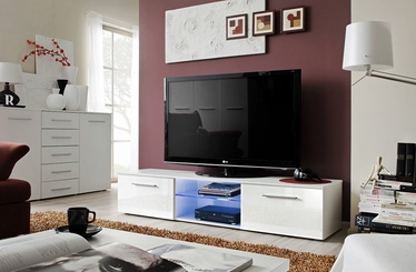 TV galds ASM Bono III White/White Gloss, 1800x450x350 mm