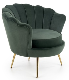 Atzveltnes krēsls Halmar Amorinito Dark Green/Gold, 83x77x77 cm