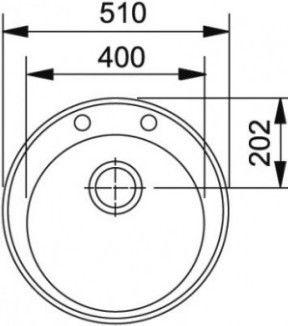 Раковина Franke ROG 610-41, 510 мм x 510 мм x 195 мм