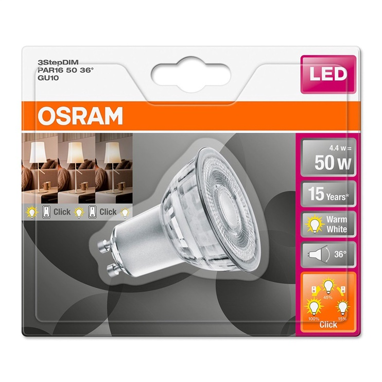 Spuldze Led Osram PAR16 4.4W, GU10, 2700K, 350lm, 3click x dim