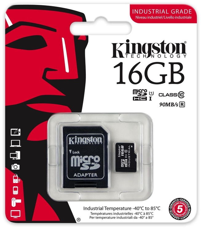 Kingston 16GB microSDHC UHS-I Class 10 Industrial Temperature Card + SD Adapter