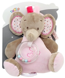 Axiom New Baby Elephant Music Box With Rattle Pink 18cm 4950a