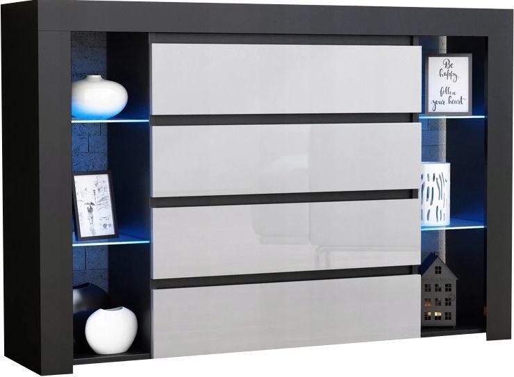 Kumode Pro Meble Milano 4SZ With Light Black/White