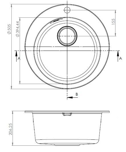 Раковина Alveus Victoria 3321055, 505 мм x 505 мм x 206 мм