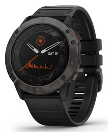 Garmin Fenix 6X Pro Solar Ti Sapphire Carbon Gray DLC with Black Band with Maps Music