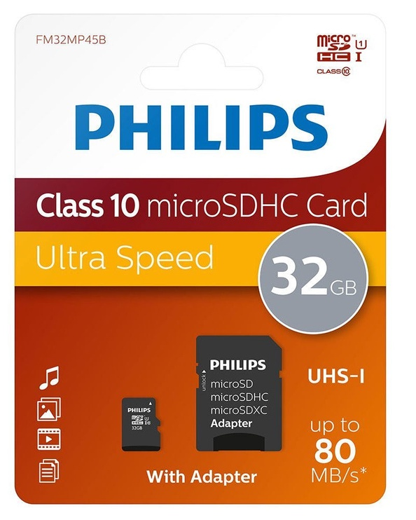 Philips Micro SD Card 32GB + Adapter FM32MP45B