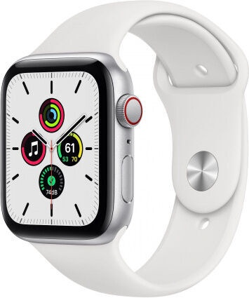 Apple Watch SE GPS 44mm LTE Silver Aluminum White Sport Band