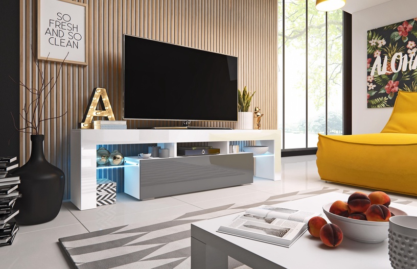 TV galds Cama Meble Toro 158, balta/pelēka, 1580x400x410 mm