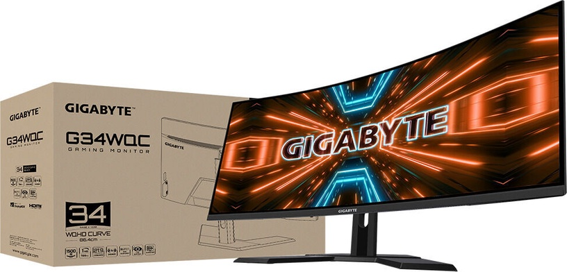 Монитор Gigabyte G34WQC-EK, 34″, 1 ms