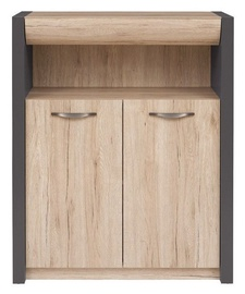Komoda Black Red White Executive II Drawer San Remo Oak