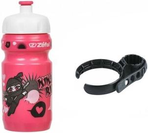 Велосипедная фляжка Zefal Little Z Ninja Girl Bottle & Universal Clip Holder Pink 350ml
