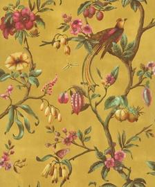 Tapetas flizelino pagrindu BN 220444 Fiore, geltonas su paukšiais ir gėlėmis