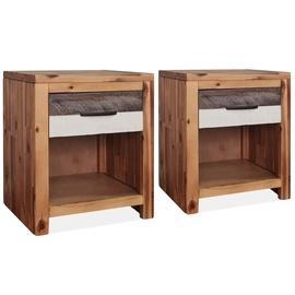 Ночной столик VLX Solid Acacia Wood 246042, коричневый, 30x40x48 см