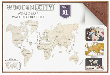 Wooden City Puzzle World Map XL Dark Brown 48pcs