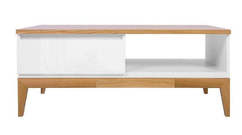 Kafijas galdiņš Black Red White Kioto, balta/ozola, 1100x600x455 mm