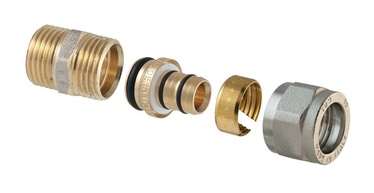"Išardomasis srieginis antgalis, TDM Brass, 3/4"" x 20 mm, su išoriniu sriegiu"