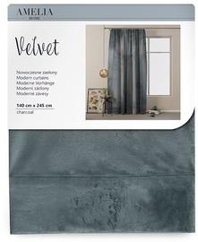 Ночная занавеска AmeliaHome Velvet Pleat, серый, 1400x2450 мм