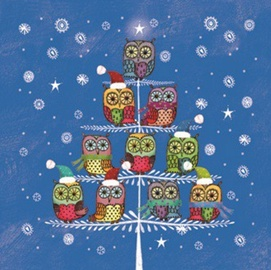 Paw Decor Collection Winter Owlies Blue 25 x 25 cm