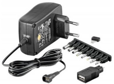 Techly Universal Power Adapter With 9 Removable Plugs 3-12V 1.5A 18W