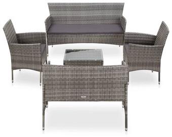 Комплект уличной мебели VLX 5 Piece Garden Lounge Set Poly Rattan, серый/коричневый, 7 места